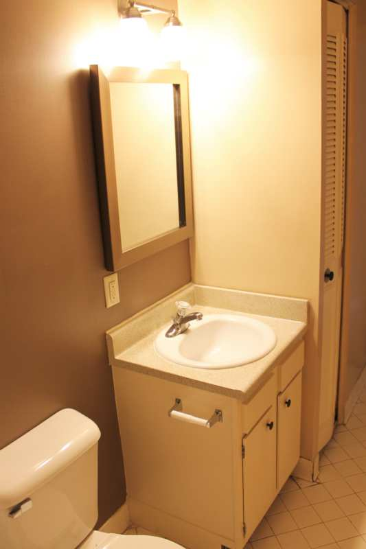 Bathroom with linen closet