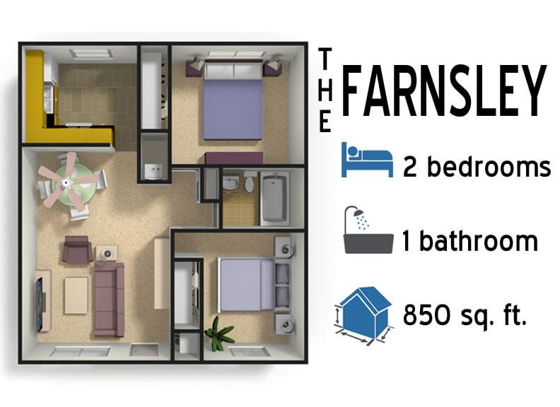 The Farnsley: 2 bedrooms - 1 bath - 850 sq ft