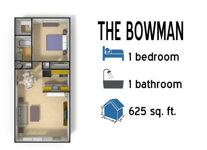 The Bowman: 1 bedroom - 1 bath - 625 sq ft