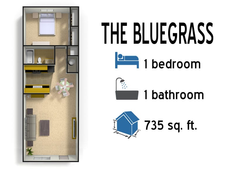 The Bluegrass: 1 bedroom - 1 bath - 735 sq ft