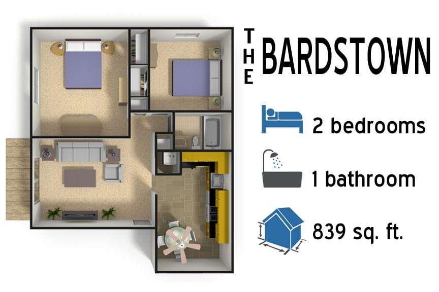 The Bardstown: 2 bedroom - 1 bath - 839 sq ft