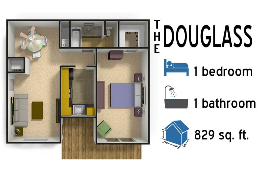 The Douglass: 1 bedroom - 1 bath - 829 sq ft