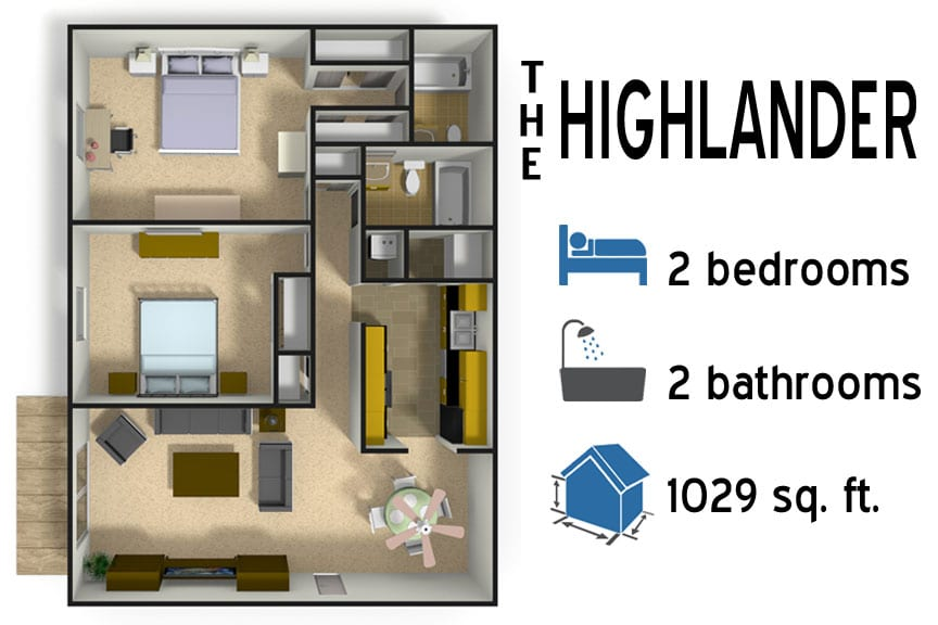 The Highlander: 2 bedroom - 2 bath -1029 sq ft