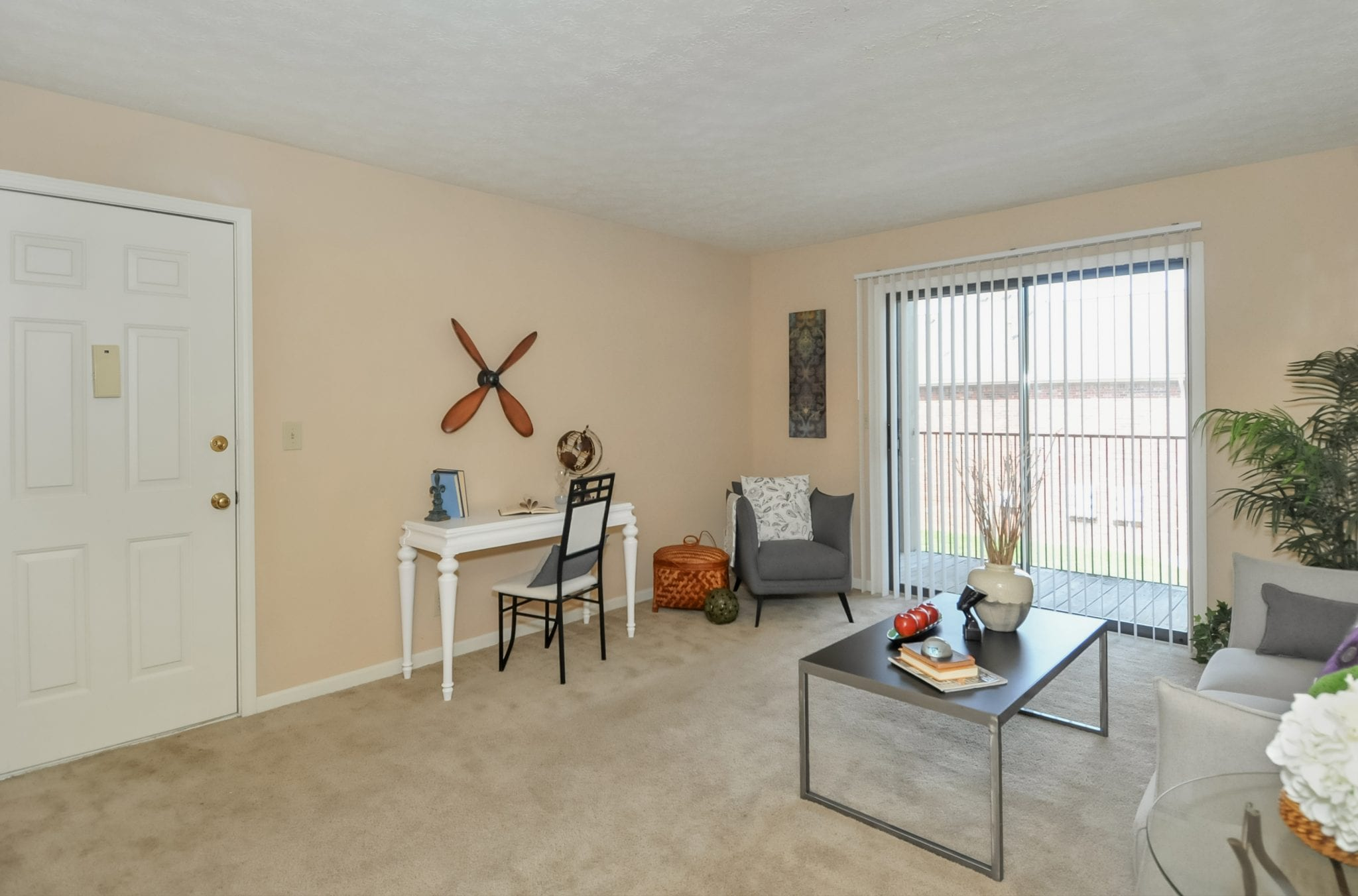 Large, open living and dining area with patio or balcony!