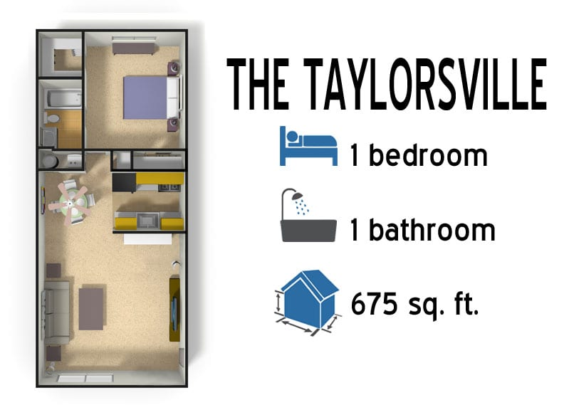 The Taylorsville: 1 bedroom - 1 bath - 675 sq ft