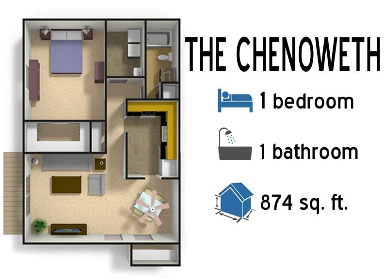 The Chenoweth: 1 bedroom - 1 bath - 874 sq ft