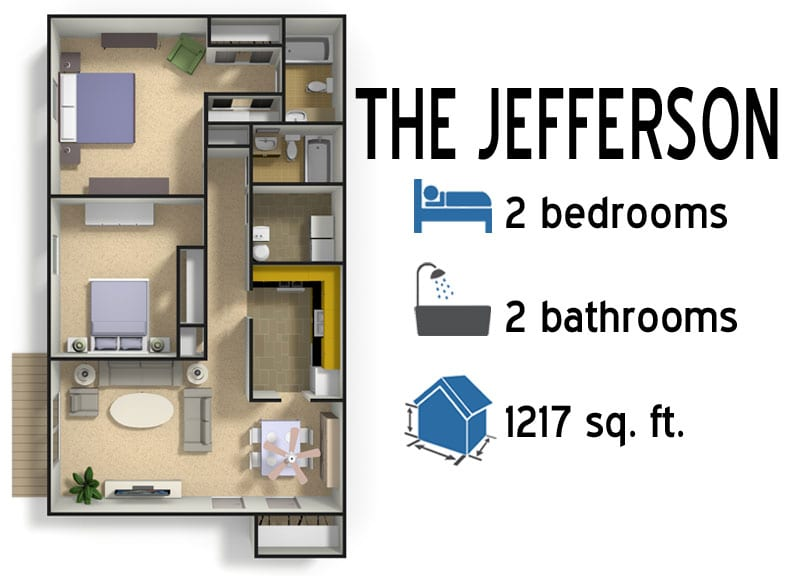 The Jefferson: 2 bedrooms - 2 baths - 1217 sq ft
