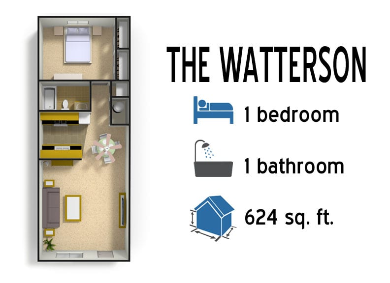 The Watterson: 1 bedroom - 1 bath - 624 sq ft