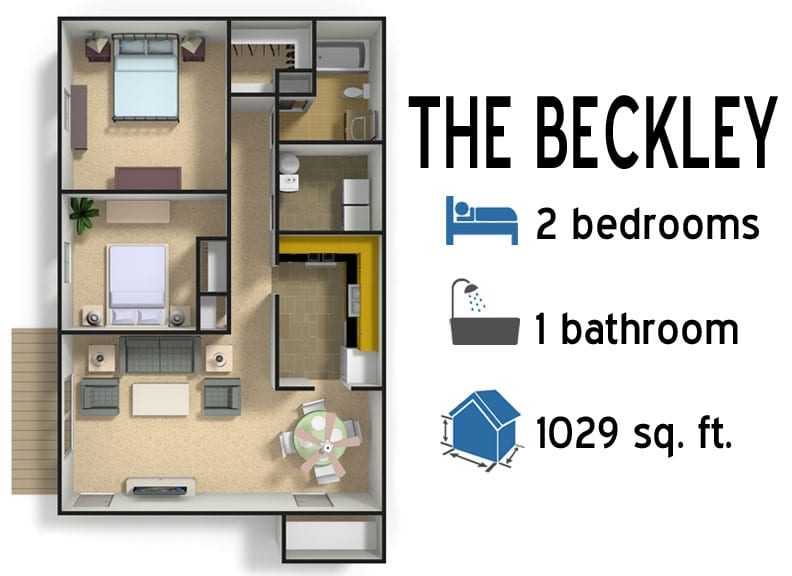 The Beckley: 2 bedrooms - 1 bath - 1029 sq ft